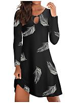 cheap -Women's A Line Dress Knee Length Dress Black letter printing Black tie-dye stripes print Black leaf print Long Sleeve Print Modern Style Fall Winter Round Neck Casual 2021 S M L XL XXL 3XL 4XL 5XL