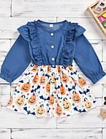 cheap -Toddler Little Girls' Dress Animal Print Blue Cotton Knee-length Long Sleeve Cute Dresses Halloween Fall Regular Fit 2-6 Years