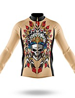 cheap -21Grams Men's Long Sleeve Cycling Jersey Spandex Polyester Yellow Skull Funny Bike Top Mountain Bike MTB Road Bike Cycling Quick Dry Moisture Wicking Breathable Sports Clothing Apparel / Stretchy