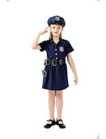 cheap -Police Movie / TV Theme Costumes Cosplay Costume Kid's Girls' Halloween Halloween Halloween Festival / Holiday Terylene Ink Blue Easy Carnival Costumes Solid Color / Dress / Belt / Hat
