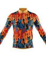 cheap -21Grams Men's Long Sleeve Cycling Jersey Spandex Polyester Orange 3D Graffiti Funny Bike Top Mountain Bike MTB Road Bike Cycling Quick Dry Moisture Wicking Breathable Sports Clothing Apparel
