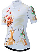 cheap -21Grams Women's Short Sleeve Cycling Jersey Summer Spandex Polyester White Floral Botanical Funny Bike Top Mountain Bike MTB Road Bike Cycling Quick Dry Moisture Wicking Breathable Sports Clothing