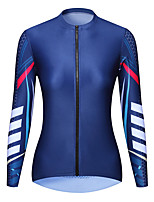 cheap -21Grams Women's Long Sleeve Cycling Jersey Spandex Dark Blue Bike Top Mountain Bike MTB Road Bike Cycling Quick Dry Moisture Wicking Sports Clothing Apparel / Stretchy / Athleisure