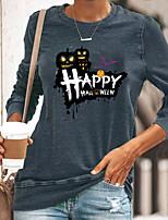 cheap -Women's Halloween Abstract Painting T shirt Graphic Text Pumpkin Long Sleeve Print Round Neck Basic Halloween Tops Cotton Blue Yellow Gray