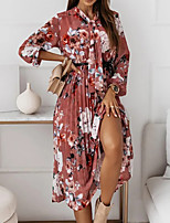 cheap -Women's A Line Dress Midi Dress Black Red Long Sleeve Floral Print Fall Winter V Neck Casual 2021 S M L XL XXL