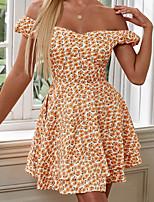 cheap -Women's A Line Dress Short Mini Dress Yellow Short Sleeve Floral Ruffle Print Summer Off Shoulder Casual 2021 S M L XL XXL 3XL / Cotton