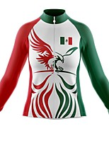 cheap -21Grams Women's Long Sleeve Cycling Jersey Spandex Red and White Mexico National Flag Bike Top Mountain Bike MTB Road Bike Cycling Quick Dry Moisture Wicking Sports Clothing Apparel / Stretchy