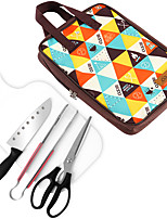 cheap -new outdoor cookware five piece set camping barbecue stainless steel knives cutting board picnic bag barbecue simple kitchenware