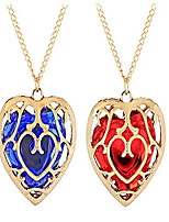 cheap -2 pieces the legend of zelda skyward sword heart crystal necklace container keychain cosplay created sapphire ruby big heart pendant anime jewelry valentines gifts for women girl