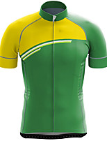 cheap -21Grams Men's Short Sleeve Cycling Jersey Summer Spandex Green / Yellow Stripes Color Block Bike Top Mountain Bike MTB Road Bike Cycling Quick Dry Moisture Wicking Sports Clothing Apparel / Stretchy