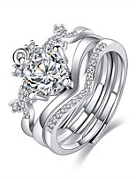 cheap -Ring AAA Cubic Zirconia Classic Silver Alloy Classic Sweet 3pcs Adjustable / Women's