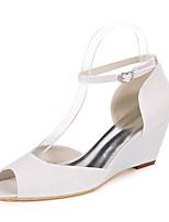 cheap -Women's Wedding Shoes Wedge Heel Peep Toe Wedding Gleit Solid Colored Light Purple Champagne Silver