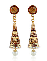 cheap -Women's Earrings Geometrical Floral Theme Joy Stylish Simple Earrings Jewelry Light Brown / Green / Rainbow For Daily Holiday Promise 1 Pair