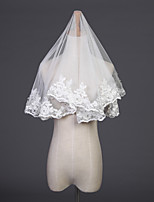 cheap -One-tier Classic Style Wedding Veil Elbow Veils with Pattern Tulle
