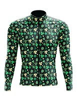 cheap -21Grams Men's Long Sleeve Cycling Jersey Spandex Polyester Green Leaf Funny Bike Top Mountain Bike MTB Road Bike Cycling Quick Dry Moisture Wicking Breathable Sports Clothing Apparel / Stretchy