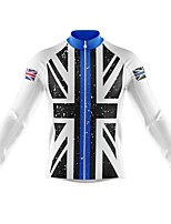 cheap -21Grams Men's Long Sleeve Cycling Jersey Spandex Polyester Blue White Black UK Funny Bike Top Mountain Bike MTB Road Bike Cycling Quick Dry Moisture Wicking Breathable Sports Clothing Apparel