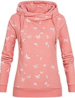 cheap -Women's Hoodie Sweatshirt Butterfly Animal Print Casual Daily Active Streetwear Hoodies Sweatshirts  Loose Blushing Pink