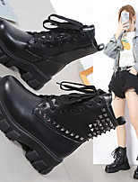 cheap -Women's Boots Block Heel Round Toe Daily PU Lace-up Solid Colored Black