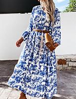 cheap -Women's Swing Dress Maxi long Dress Blue Long Sleeve Print Print Fall Shirt Collar Casual 2021 S M L XL XXL
