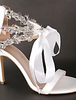 cheap -Women's Sandals High Heel Open Toe Wedding Sandals Party Wedding Satin Lace-up Solid Colored White