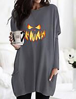 cheap -Women's Halloween T shirt Dress Graphic Flame Long Sleeve Pocket Round Neck Basic Halloween Tops Army Green Fuchsia Gray