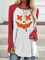 cheap -Women's Halloween Abstract Painting T shirt Color Block Pumpkin Long Sleeve Patchwork Print Round Neck Basic Halloween Tops Green Red Brown