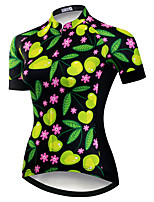 cheap -21Grams Women's Short Sleeve Cycling Jersey Summer Spandex Polyester Black / Green Floral Botanical Funny Bike Top Mountain Bike MTB Road Bike Cycling Quick Dry Moisture Wicking Breathable Sports