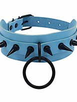 cheap -pu leather goth choker collar circle choker necklace with black studded punk rock rivet collar adjustable size - double layer with rivet – light blue