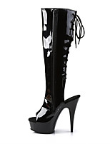 cheap -Women's Boots Stiletto Heel Peep Toe Knee High Boots Party PU Solid Colored White Black