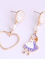 cheap -Women's Drop Earrings Earrings Mismatch Earrings Heart Sweet Heart Fashion Cute Imitation Pearl Earrings Jewelry Purple / Blushing Pink / Green For Date Vacation Birthday 1 Pair