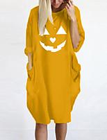 cheap -Women's T Shirt Dress Tee Dress Knee Length Dress Blue Yellow Fuchsia Gray Green White Black Long Sleeve Print Pocket Print Fall Spring Round Neck Casual Halloween Oversized 2021 S M L XL XXL 3XL 4XL