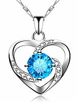 cheap -925 sterling silver long heart necklace for women ocean necklaces for girls girlfriend friendship mom silver fashion pendant necklace with jewelry box blue