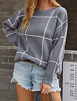 cheap -Women's Pullover Sweater Classic Style Check Casual Modern Long Sleeve Sweater Cardigans Round Neck Fall Winter Grey Green Black