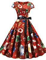 cheap -Santa Suit Audrey Hepburn Dress Swing Dress Adults' Women's Vintage Festival Christmas New Year Festival / Holiday Terylene Red+Black / Purple / Green Women's Easy Carnival Costumes Snowflake