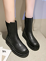 cheap -Women's Boots Wedge Heel Round Toe Mid Calf Boots Daily PU Solid Colored Black