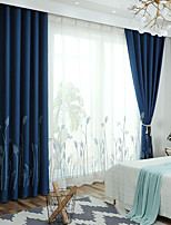 cheap -Two Panel Nordic Style Imitation Linen Embroidered Curtains Living Room Bedroom Dining Room Children's Room Thermal Insulation Curtains