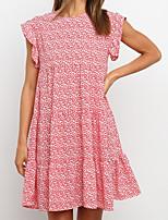cheap -Women's A Line Dress Short Mini Dress Red Sleeveless Floral Print Summer Round Neck Work Casual Boho 2021 S M L XL