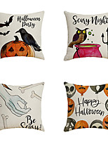 cheap -Halloween Double Side Cushion Cover 4PC Soft Decorative Square Throw Pillow Cover Cushion Case Pillowcase for Bedroom Livingroom Superior Quality Machine Washable Indoor Cushion for Sofa Couch Bed Chair Pumpkin Bat Grave