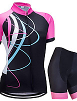 cheap -21Grams Women's Short Sleeve Cycling Jersey with Shorts Summer Spandex Black Stripes Bike Quick Dry Moisture Wicking Sports Stripes Mountain Bike MTB Road Bike Cycling Clothing Apparel / Stretchy