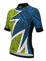 cheap -21Grams Women's Short Sleeve Cycling Jersey Summer Spandex Polyester Blue+Green Stripes Funny Bike Top Mountain Bike MTB Road Bike Cycling Quick Dry Moisture Wicking Breathable Sports Clothing Apparel