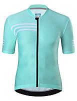 cheap -21Grams Men's Short Sleeve Cycling Jersey Summer Spandex Green Royal Blue White Stripes Bike Top Mountain Bike MTB Road Bike Cycling Quick Dry Moisture Wicking Sports Clothing Apparel / Athleisure