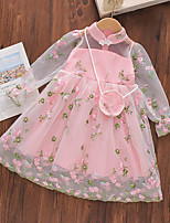 cheap -Kids Toddler Little Girls' Dress Floral Swing Dress Party Daily Embroidered Mesh Green Above Knee Long Sleeve Princess Cute Dresses Fall Spring Loose 4-12 Years