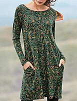 cheap -Women's Shift Dress Short Mini Dress Blue Yellow Green Long Sleeve Floral Print Pocket Print Fall Round Neck Casual 2021 S M L XL XXL 3XL