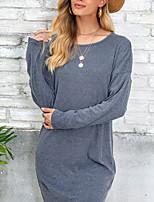 cheap -Women's Wrap Dress Short Mini Dress Red Wine Light Grey Dark Gray Long Sleeve Solid Color Modern Style Fall Winter Round Neck Casual 2021 S M L XL XXL