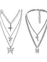 cheap -vesocodainty unique punk layering chain choker necklace boho jewelry set layered butterfly pendant statement chunky chain necklace festival statement necklace for women man (butterfly+lock)