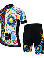 cheap -CAWANFLY Men's Short Sleeve Cycling Jersey with Shorts Summer Black / Blue Bike Sports Geometic Mountain Bike MTB Road Bike Cycling Clothing Apparel / Micro-elastic / Athleisure / Triathlon
