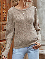 cheap -Women's Pullover Sweater Classic Style Solid Color Basic Casual Cotton Long Sleeve Sweater Cardigans Round Neck Spring khaki / Work