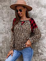 cheap -Women's T shirt Plaid Leopard Long Sleeve Patchwork Print Round Neck Basic Tops Blue Blushing Pink Dark Gray