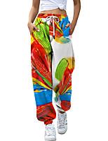 cheap -Women's Fashion Casual / Sporty Breathable Sports Pants Sweatpants Loose Casual Daily Pants Rainbow Tie Dye Full Length Elastic Drawstring Design Print Rainbow
