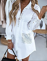 cheap -Women's Shirt Dress Short Mini Dress White Black Long Sleeve Letter Print Fall Spring Shirt Collar Work Casual Regular Fit 2021 S M L XL 2XL 3XL